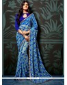 Stylish Abstract Print Work Blue Faux Chiffon Printed Saree