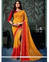 Awesome Faux Chiffon Mustard And Red Lace Work Printed Saree