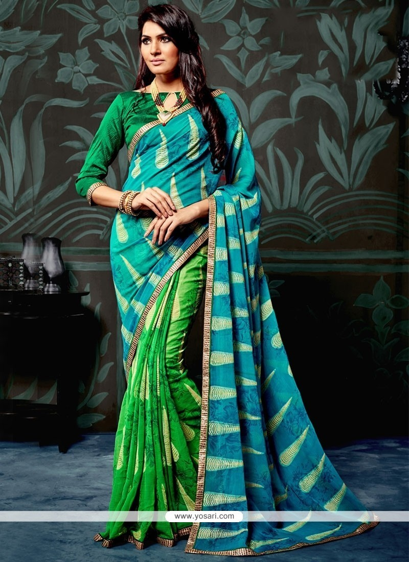 Unique Blue And Green Lace Work Faux Chiffon Printed Saree