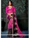 Lively Black And Magenta Faux Chiffon Printed Saree