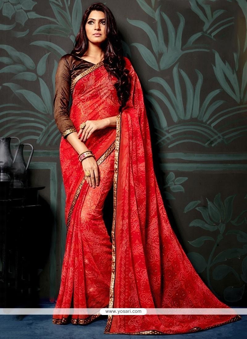 Fetching Faux Chiffon Red Printed Saree