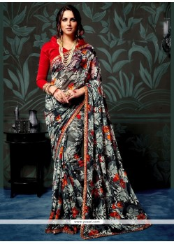 Topnotch Abstract Print Work Multi Colour Printed Saree