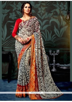 Modest Multi Colour Lace Work Faux Chiffon Printed Saree
