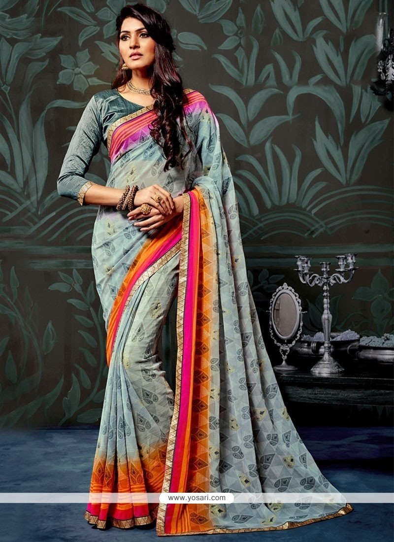 Gripping Abstract Print Work Multi Colour Printed Saree