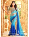 Entrancing Blue Embroidered Work Shaded Saree