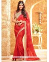 Observable Faux Georgette Embroidered Work Classic Saree