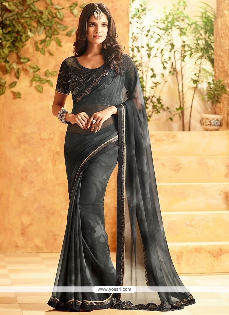 Sensible Embroidered Work Faux Georgette Shaded Saree