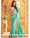 Pretty Sea Green Lace Work Art Silk Designer Traditional Saree