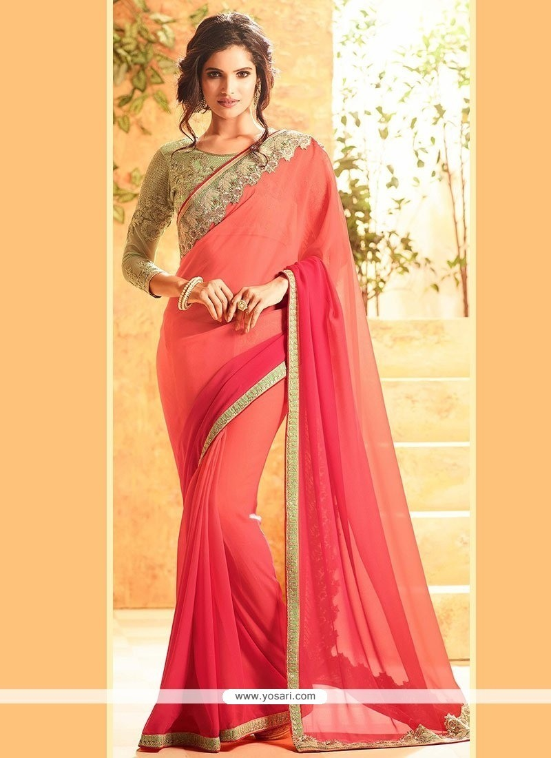 Observable Faux Georgette Peach And Pink Shaded Saree