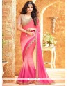 Cute Faux Georgette Hot Pink And Pink Shaded Saree