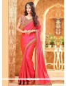 Peppy Lace Work Hot Pink Traditional Saree