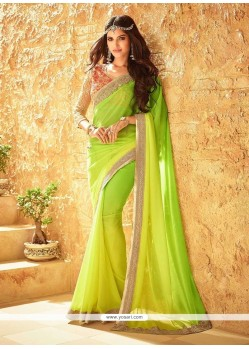 Staggering Green And Yellow Embroidered Work Faux Georgette Shaded Saree