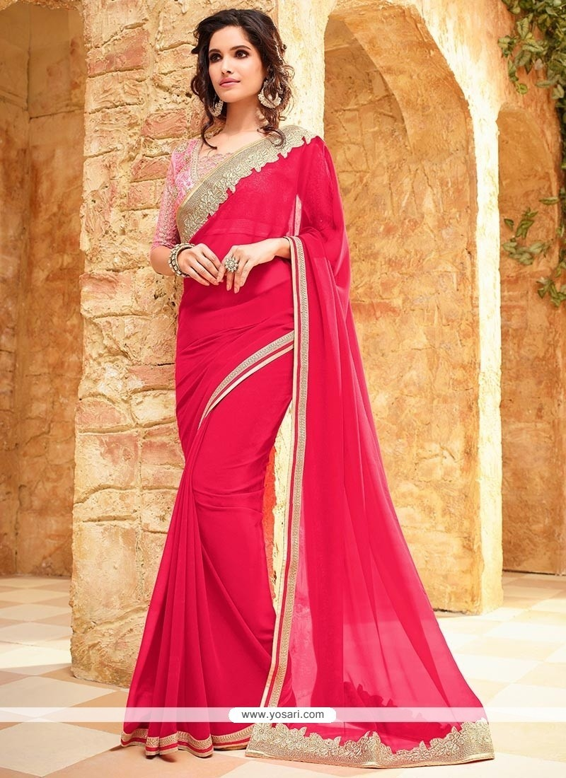 Staring Faux Georgette Lace Work Classic Saree