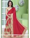 Divine Net Beige And Red Half N Half Saree