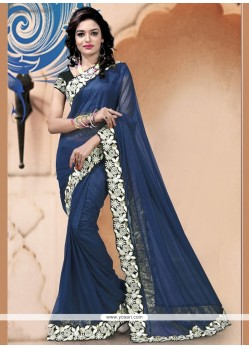 Imperial Navy Blue Lycra Classic Saree