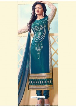 Cream and Dark Green Georgette Churidar Suit