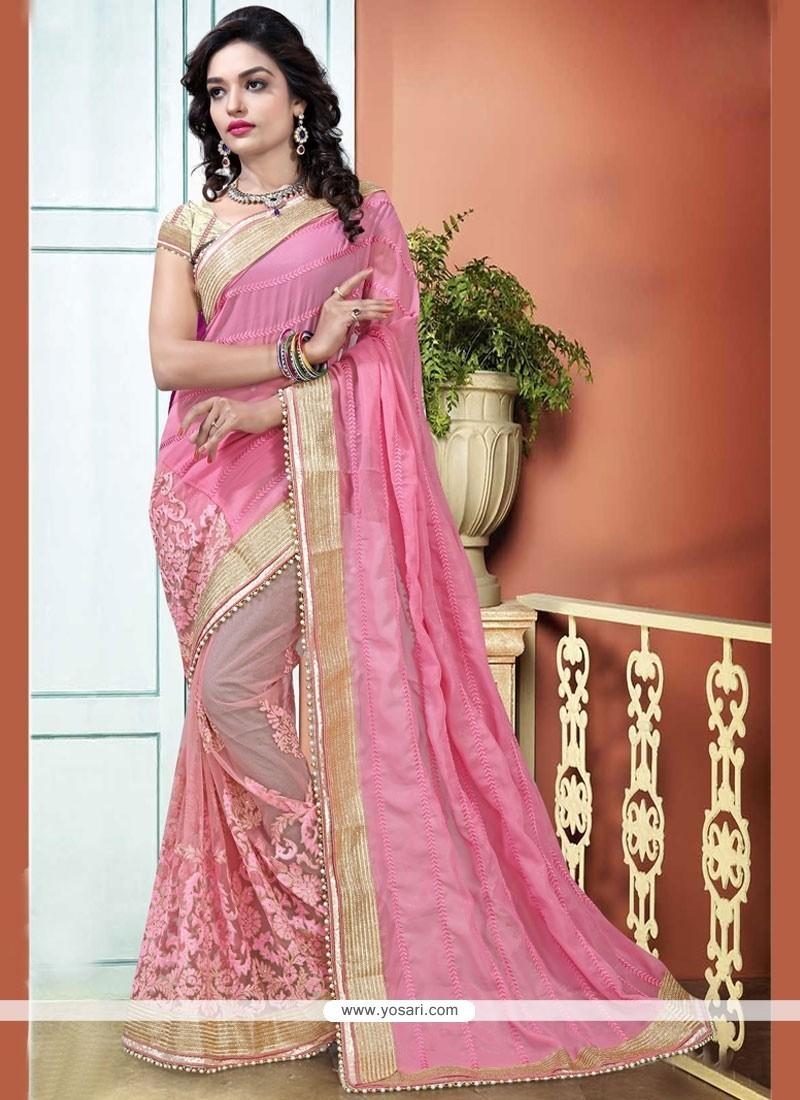 Modish Pink Patch Border Work Designer Half N Half Saree