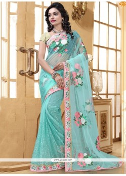 Entrancing Net Patch Border Work Saree