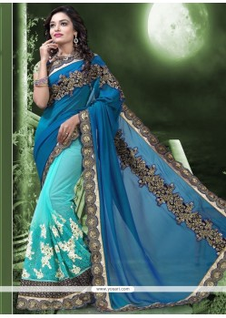 Spectacular Embroidered Work Faux Georgette Half N Half Saree