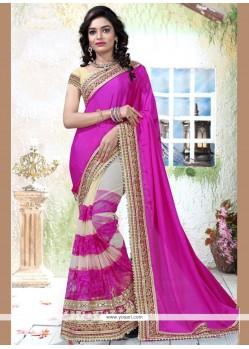 Sonorous Net Embroidered Work Half N Half Designer Saree