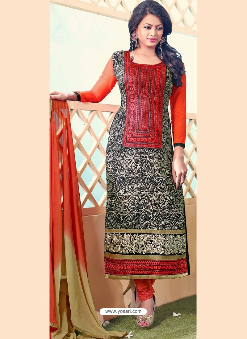 Black And Orange Georgette Churidar Suit