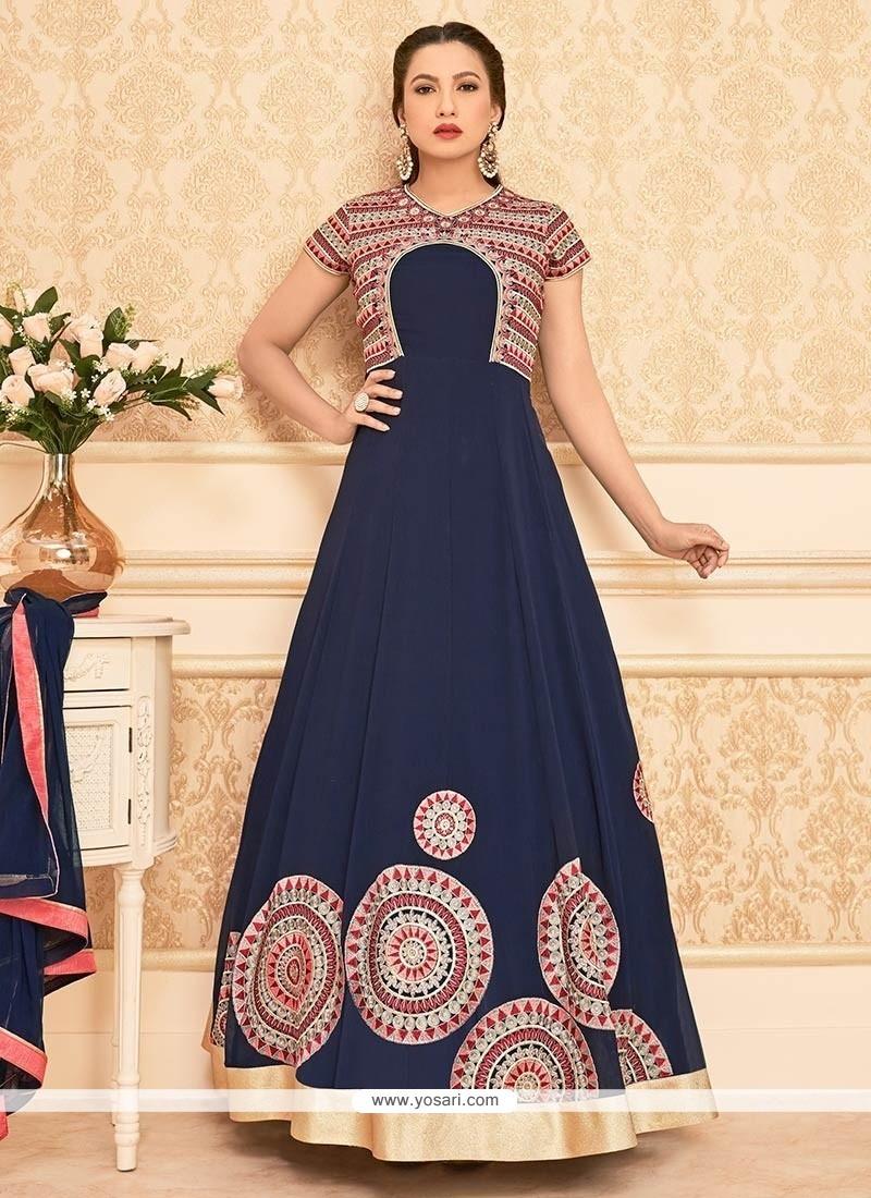 Gauhar Khan Faux Georgette Embroidered Work Navy Blue Anarkali Salwar Kameez