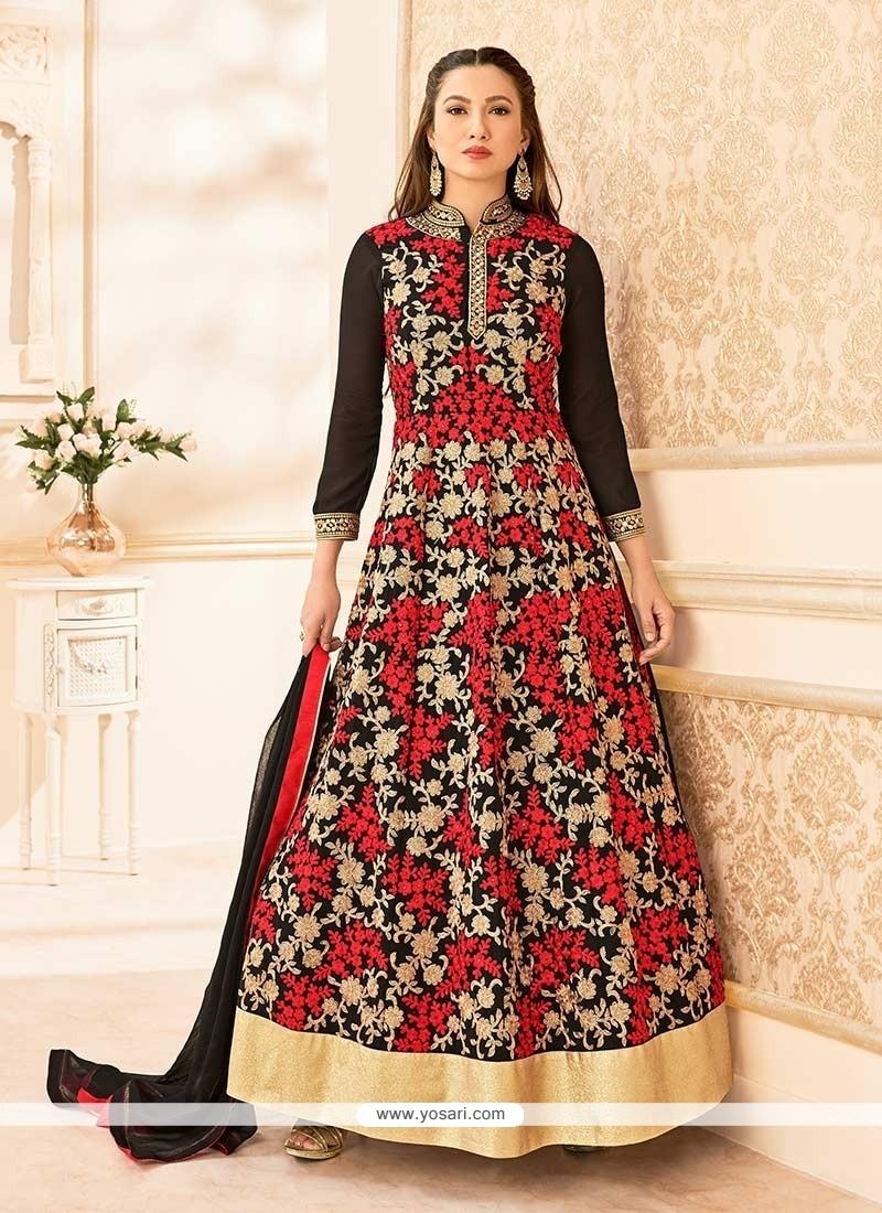 Gauhar Khan Black And Red Anarkali Suit
