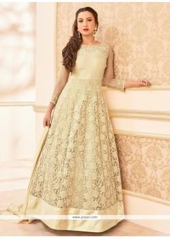Gauhar Khan Cream Anarkali Salwar Suit