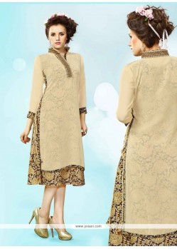 Mesmerizing Embroidered Work Cream Faux Georgette Party Wear Kurti