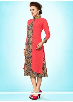 Especial Faux Georgette Rose Pink Party Wear Kurti