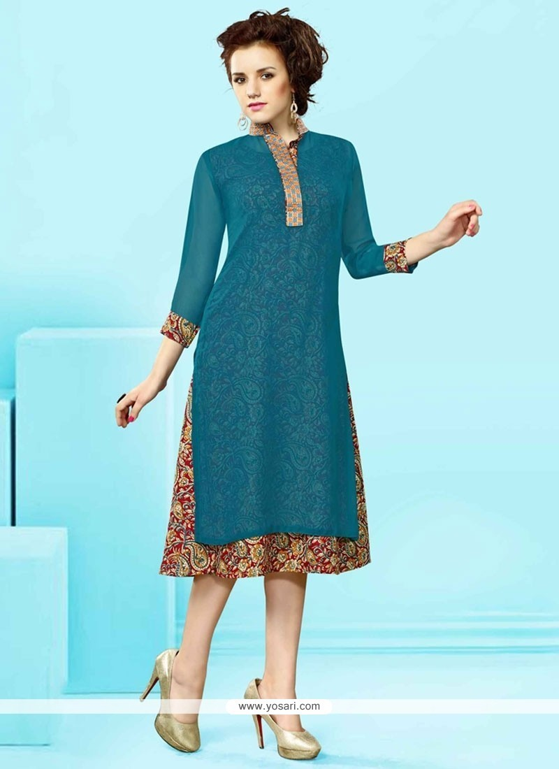 Miraculous Embroidered Work Faux Georgette Party Wear Kurti