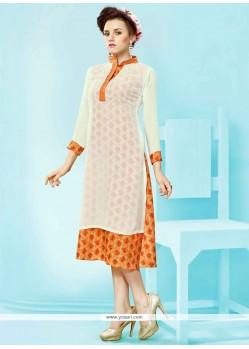 Lovable Print Work White Faux Georgette Party Wear Kurti