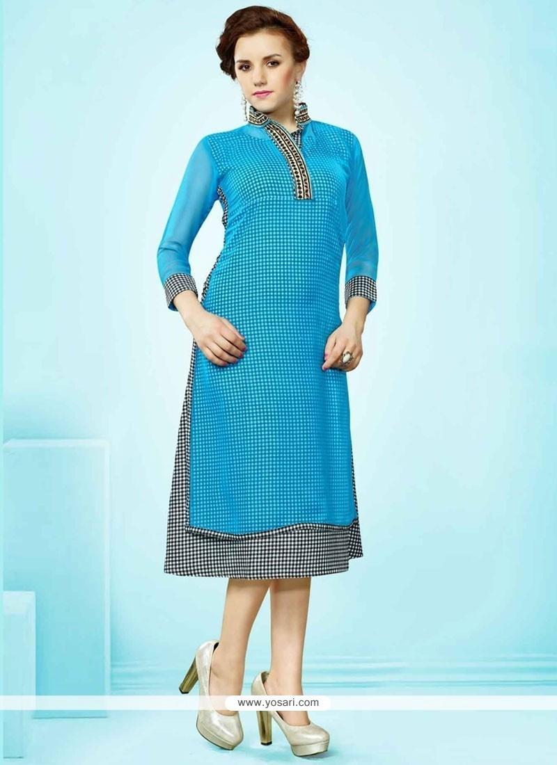 Gripping Blue Print Work Faux Georgette Party Wear Kurti
