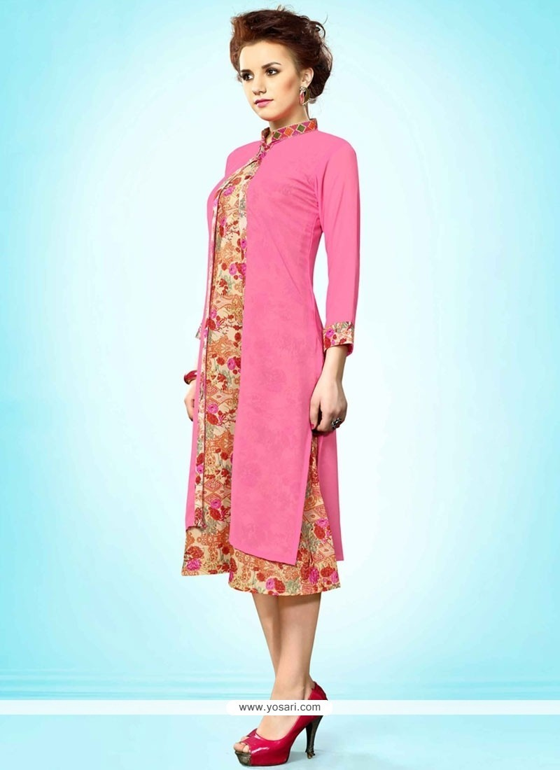 Delectable Faux Georgette Embroidered Work Party Wear Kurti