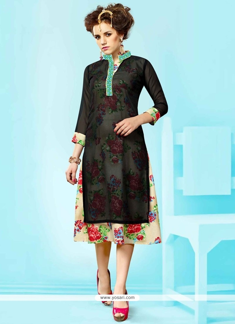 Staggering Faux Georgette Embroidered Work Party Wear Kurti