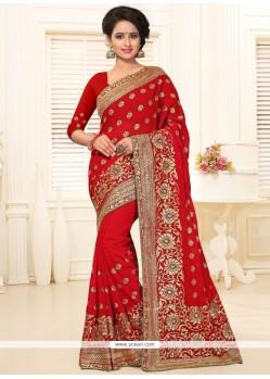 Impeccable Red Stone Work Classic Designer Saree