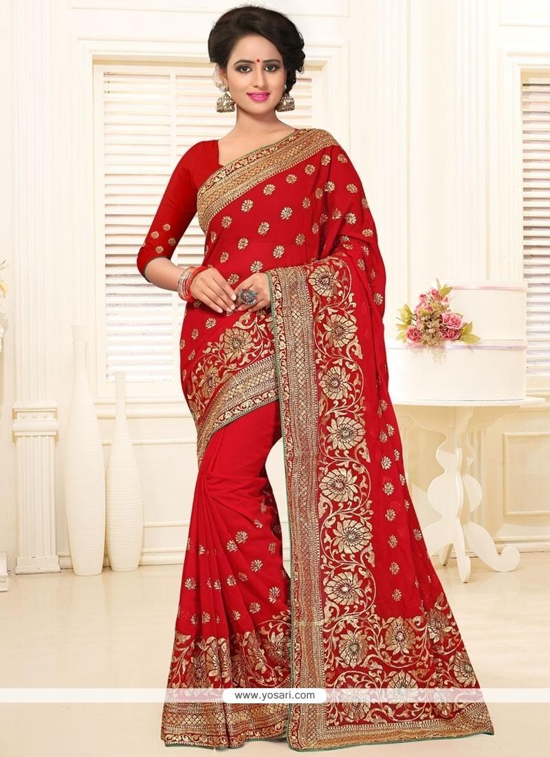 c7866779353ec Buy Impeccable Red Stone Work Classic Designer Saree