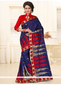 Scintillating Navy Blue And Red Traditional Saree