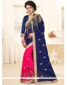 Tiptop Faux Georgette Hot Pink And Navy Blue Saree