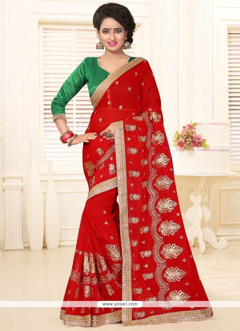 Angelic Embroidered Work Red Classic Saree