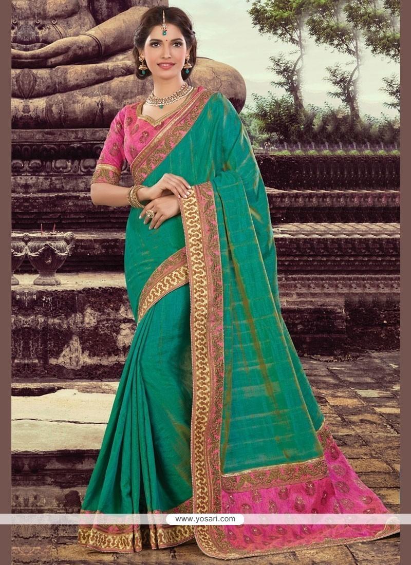 Chic Green Embroidered Work Art Silk Designer Traditional Saree