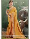 Intrinsic Embroidered Work Mustard Art Silk Traditional Saree