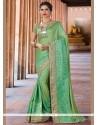 Mesmeric Sea Green Patch Border Work Traditional Saree