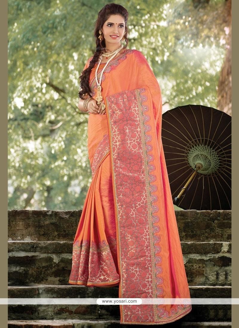 Sterling Orange Patch Border Work Art Silk Traditional Designer Saree
