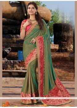 Delightsome Art Silk Patch Border Work Designer Traditional Saree