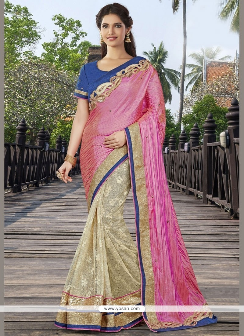 Pleasing Beige And Pink Half N Half Designer Saree