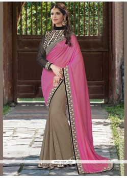 Customary Patch Border Work Brown And Pink Half N Half Saree