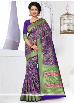 Multi Colour Weaving Work Banarasi Silk Traditional Designer Saree