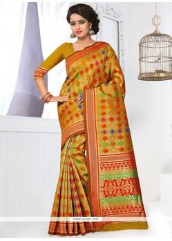 Radiant Yellow Weaving Work Banarasi Silk Traditional Saree