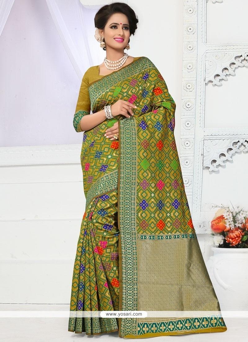 Thrilling Green Weaving Work Traditional Designer Saree